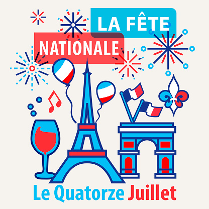 Celebrating Bastille Day, the national day of France, on 14th July with elements of Eiffel Tower, Arc de Triomphe, balloons, French flag, red wine, music note, fleur de lys and firework display in retro style