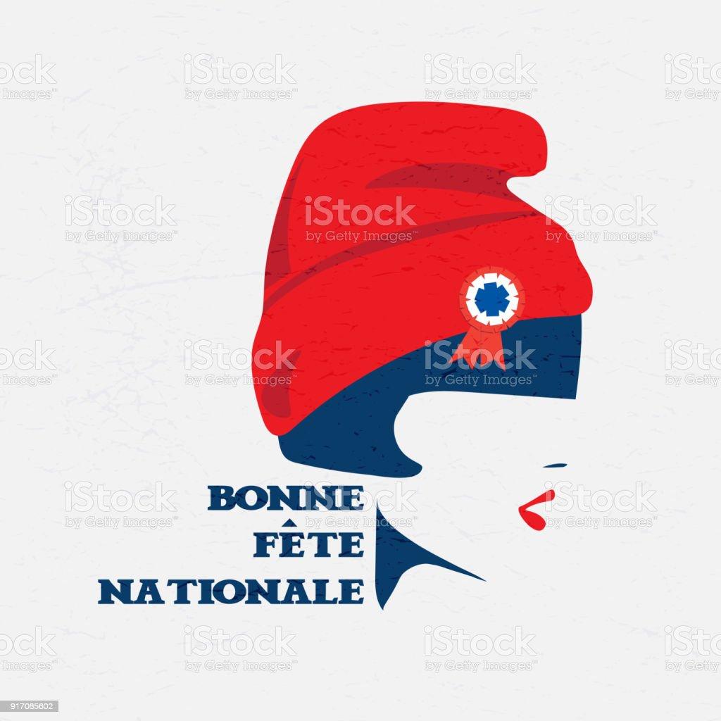 Français National Day ou jour de Bastille. Marianne de France. - Illustration vectorielle
