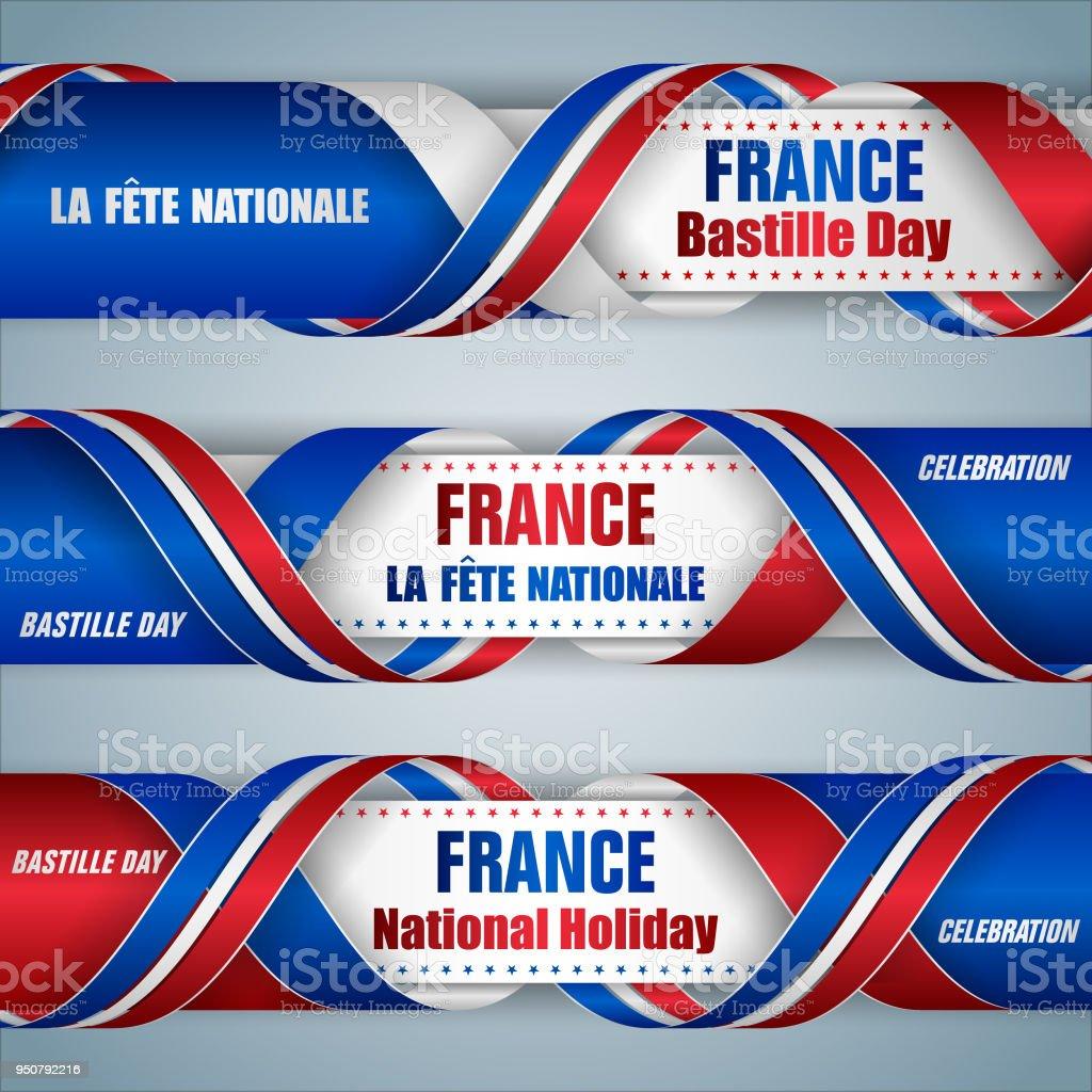 Bannières web Français fête nationale, fête nationale, - Illustration vectorielle