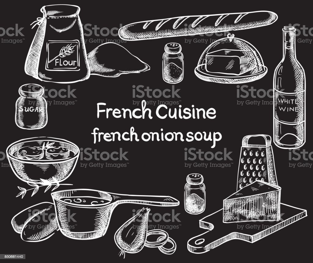 French onion soup, ingredients of the food. Vector sketch vector art illustration