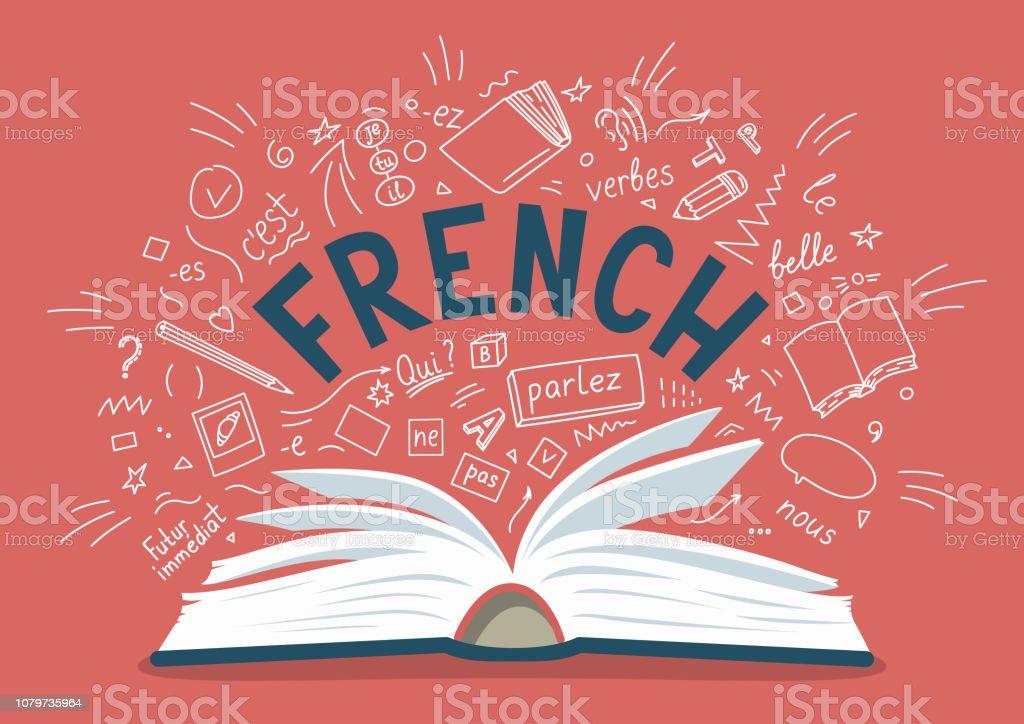 Francais Livre Ouvert Avec Langue Dessines A La Main