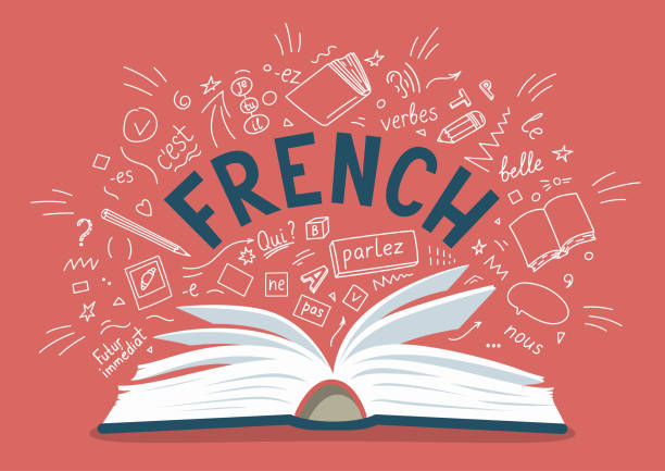 French. Open book with language hand drawn doodles and lettering French. Open book with language hand drawn doodles and lettering. Language education vector illustration. french language stock illustrations