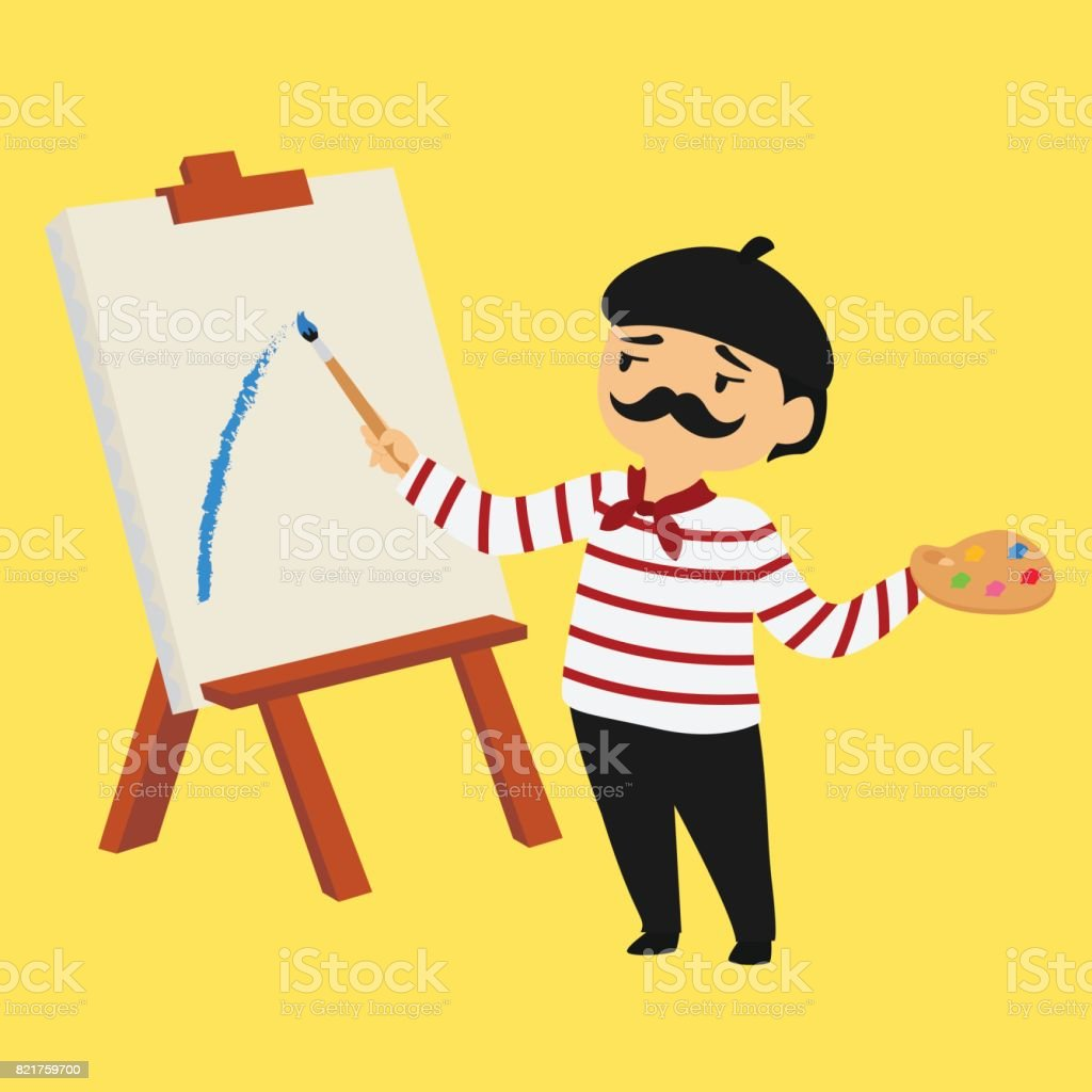 French Painter Vector Illustration vector art illustration