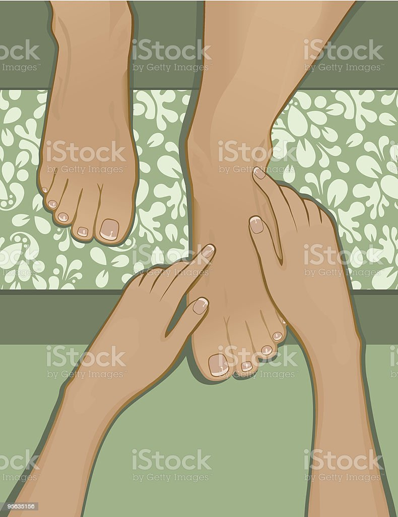 French pedicure and foot massage vector art illustration