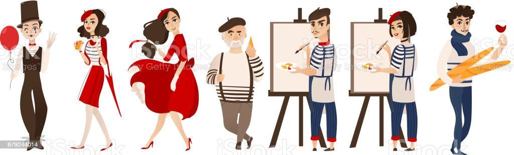 Francés personas, mimos, artistas - símbolos de Francia - ilustración de arte vectorial
