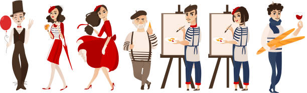 French people, mimes, artists - symbols of France French characters, mimes and artists with cheese, baguette, wine as symbols of France, flat cartoon vector illustration isolated on white background. French people, mimes, artists - symbols of France french culture stock illustrations