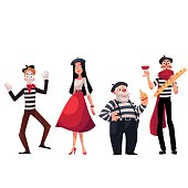 Set of French male and female characters, mimes holding cheese, baguette, wine as symbols of France, cartoon vector illustration isolated on white background. French people, mimes, symbols of France