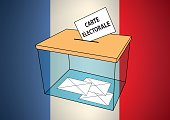 French presidential election carte electorale ballot box with some votes