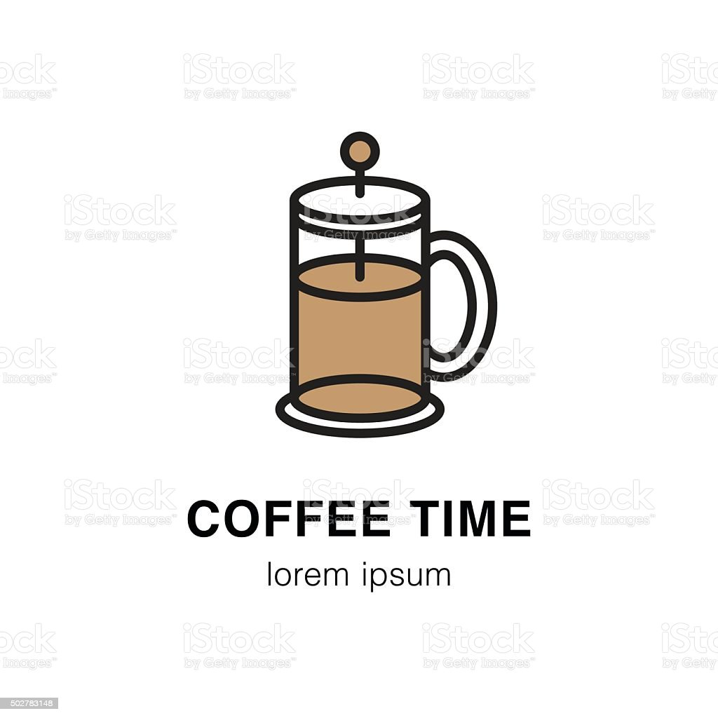 French press coffee vector art illustration