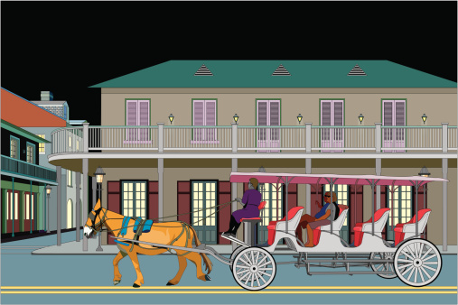 French Quarter with Carriage at Night