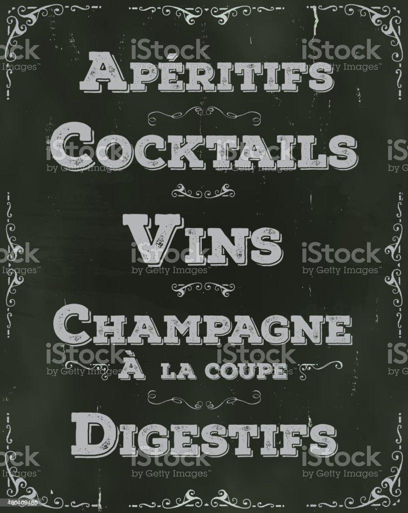 Restaurant français fond de boissons - Illustration vectorielle