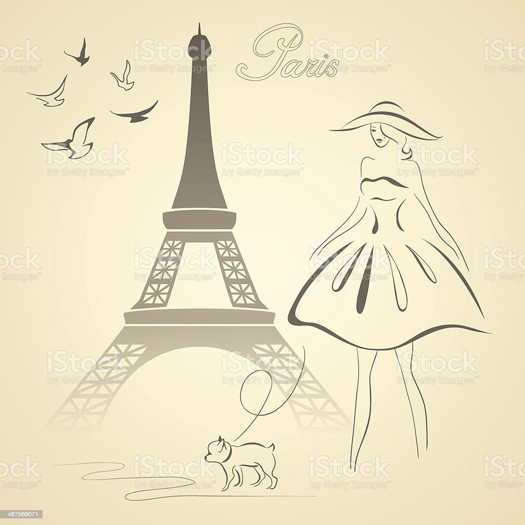 French retro style vector illustration vector art illustration