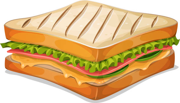 French Sandwich Icon Vector illustration of an appetizing cartoon fast food french sandwich icon, with ham slice, melted cheese, salad leaves and classic grilled bread crumb, for takeout restaurant. File is EPS10 and uses multiply and overlay transparency. High resolution jpeg file and vector eps included. pickle slice stock illustrations