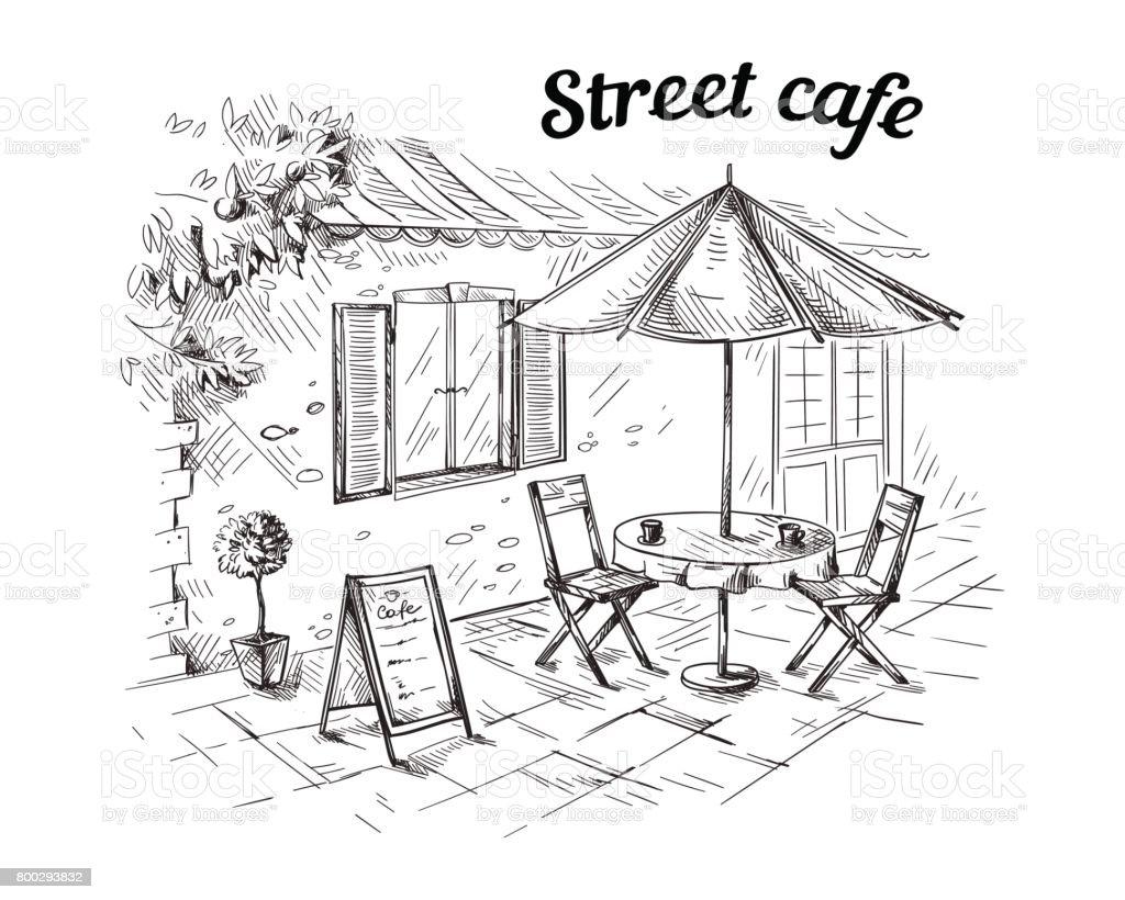 Französisch Street Cafe Wie Von Hand Gezeichnet Stock Vektor Art und ...