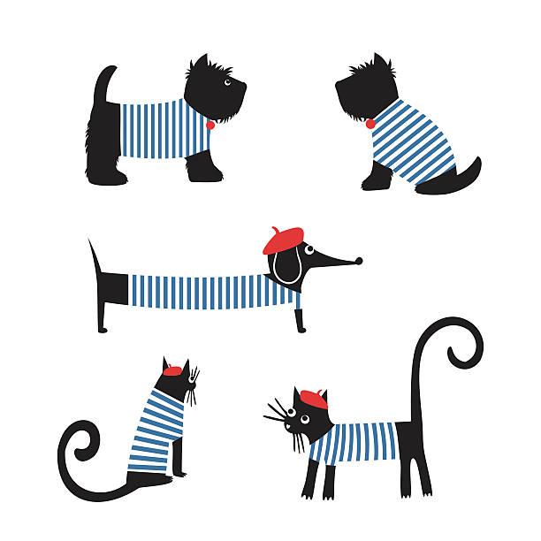 ilustrações, clipart, desenhos animados e ícones de estilo francês animais. bonito desenho dachshund parisiense, gato, terrier escocês. - moda parisiense