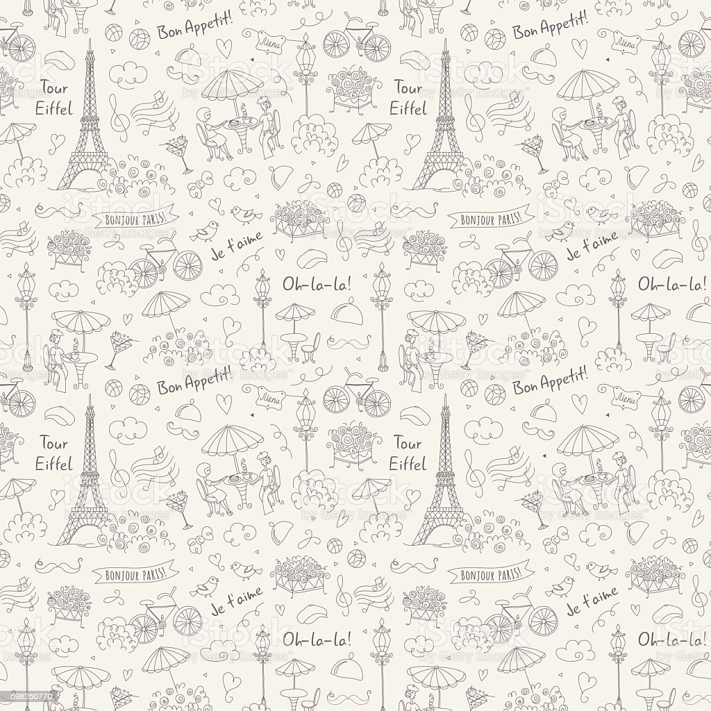French Symbols Seamless Pattern Black White Stock Vector Art More
