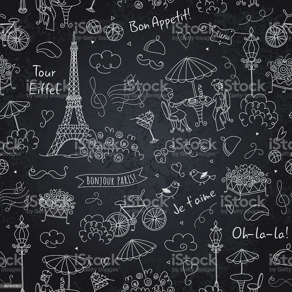 French Symbols Seamless Pattern On Chalkboard Black White Stock