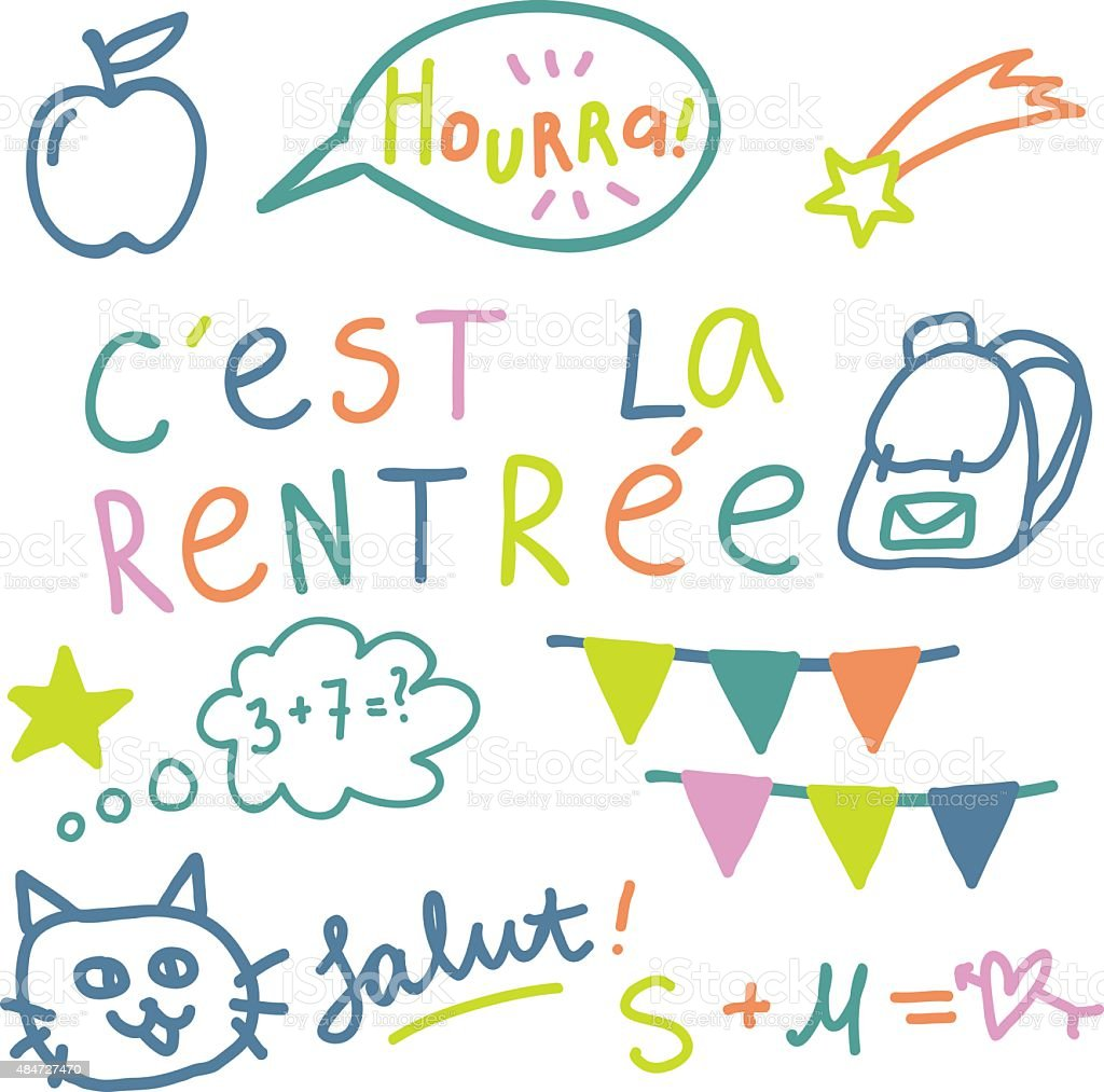 French text 'Cest la rentree', translate 'Back to School'. vector art illustration