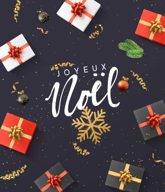 stockillustraties, clipart, cartoons en iconen met franse tekst joyeux noel. kerst samenstelling. cadeau, confetti, gouden sneeuwvlok en ballen, xmas boom tak. - christmas presents