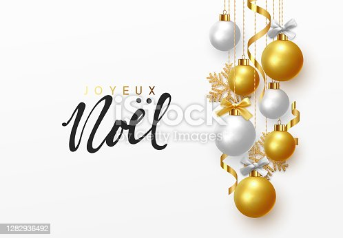 istock French text Joyeux Noel. Merry Christmas and Happy New Year. 1282936492