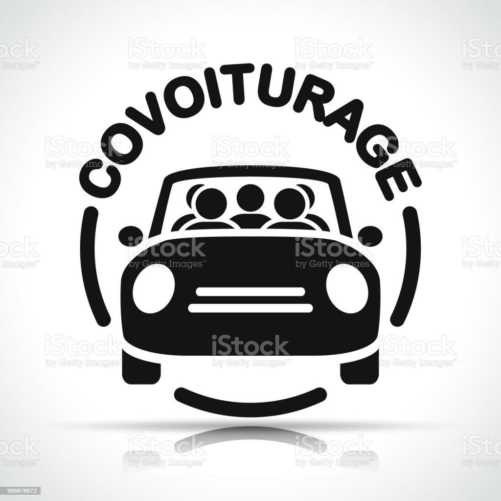 Traducción en francés de icono de uso compartido de vehículos - ilustración de arte vectorial