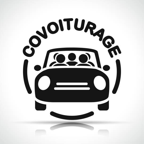 French translation for carpooling icon vector art illustration