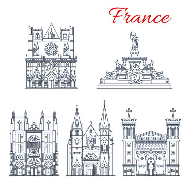 illustrations, cliparts, dessins animés et icônes de icône de point de repère de voyage français des églises européennes - nantes