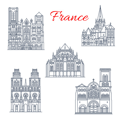 French travel landmark icon of famous cathedral