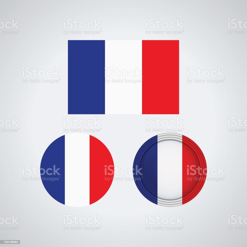 French trio flags, vector illustration vector art illustration
