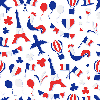 French vector seamless pattern. National Independence Day of France. Nation country symbols. Patriotic
