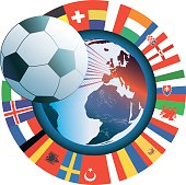 french vector soccer icon with world map and international flags