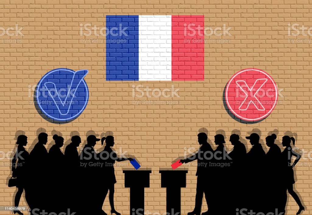 French voters crowd silhouette in election with check marks and...