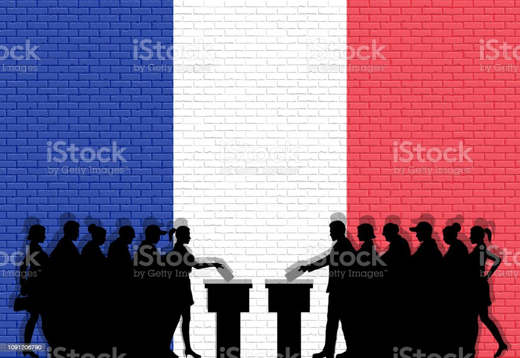 French voters crowd silhouette in election with France flag graffiti...