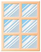 French window or door vector icon
