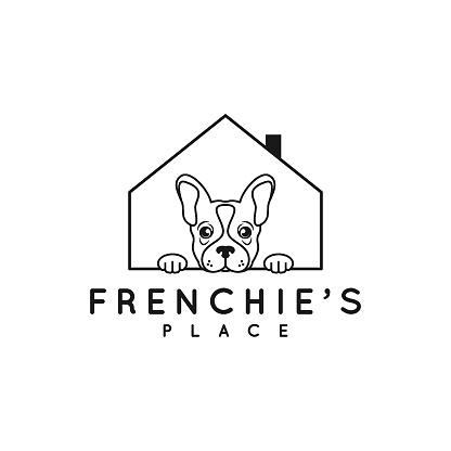 Frenchie bulldog design. Bulldog house on white background
