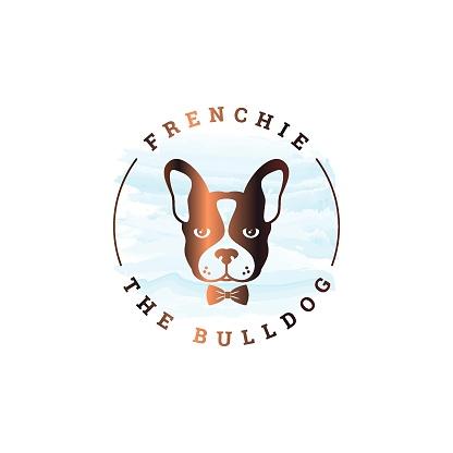 Frenchie bulldog design. Rounded of bulldog on white background