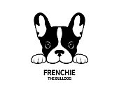 Frenchie The Bulldog Face Portrait Symbol.