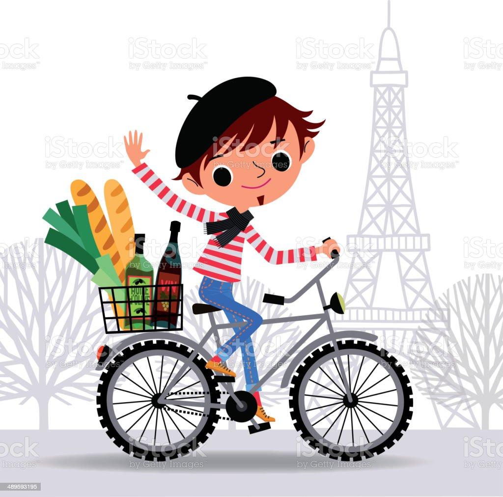 Frenchman sur un vélo. - Illustration vectorielle