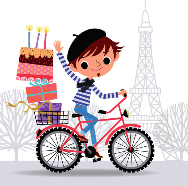 frenchman auf dem fahrrad. - lustige fahrrad stock-grafiken, -clipart, -cartoons und -symbole
