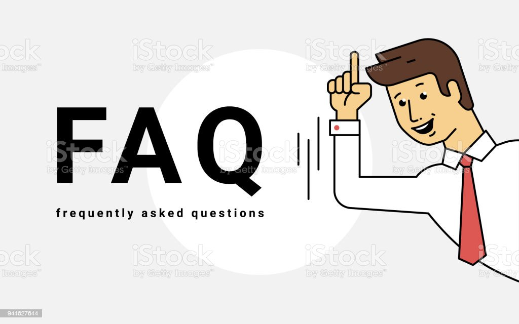 Frequently asked questions concept vector illustration of young smiling man gesturing hands vector art illustration