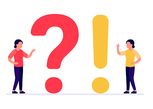 Frequently asked questions, woman people with question and exclamation marks. Abstract girl ask, need help, answer. Faq concept. Vector illustration