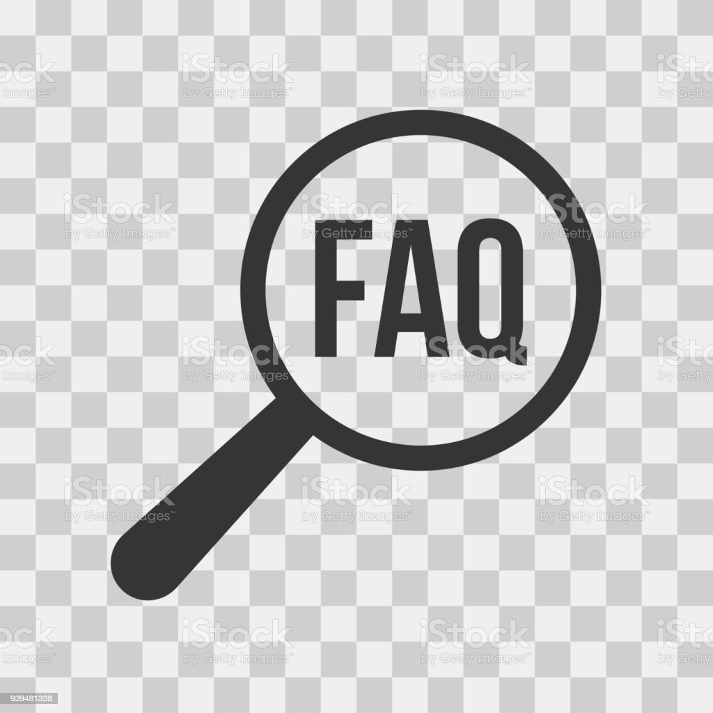 FAQ Frequently Asked Questions Word Magnifying Glass vector art illustration