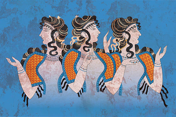 Fresco Three Minoan Women Knossos Fresco Three Minoan Women, Palace of Knossos outside Heraklion on Crete island, Greece ancient greece stock illustrations