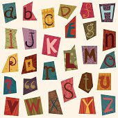 Colourful paper alphabet tiles (in a scrapbook style). (Includes .jpg)