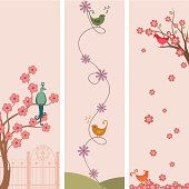 A set of tall banners featuring fanciful birds and cherry blossoms. (Includes .jpg)