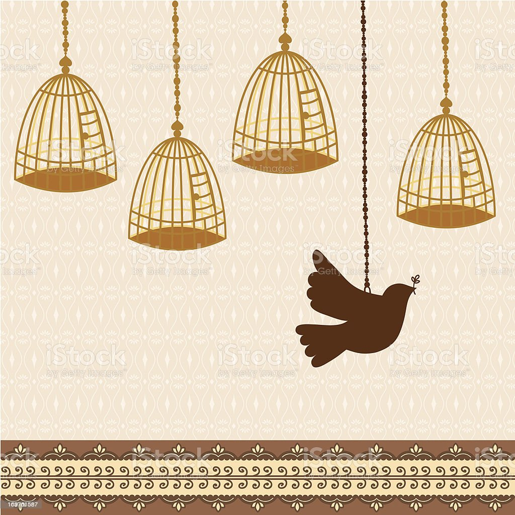 Fresh Air Dove and Cages vector art illustration