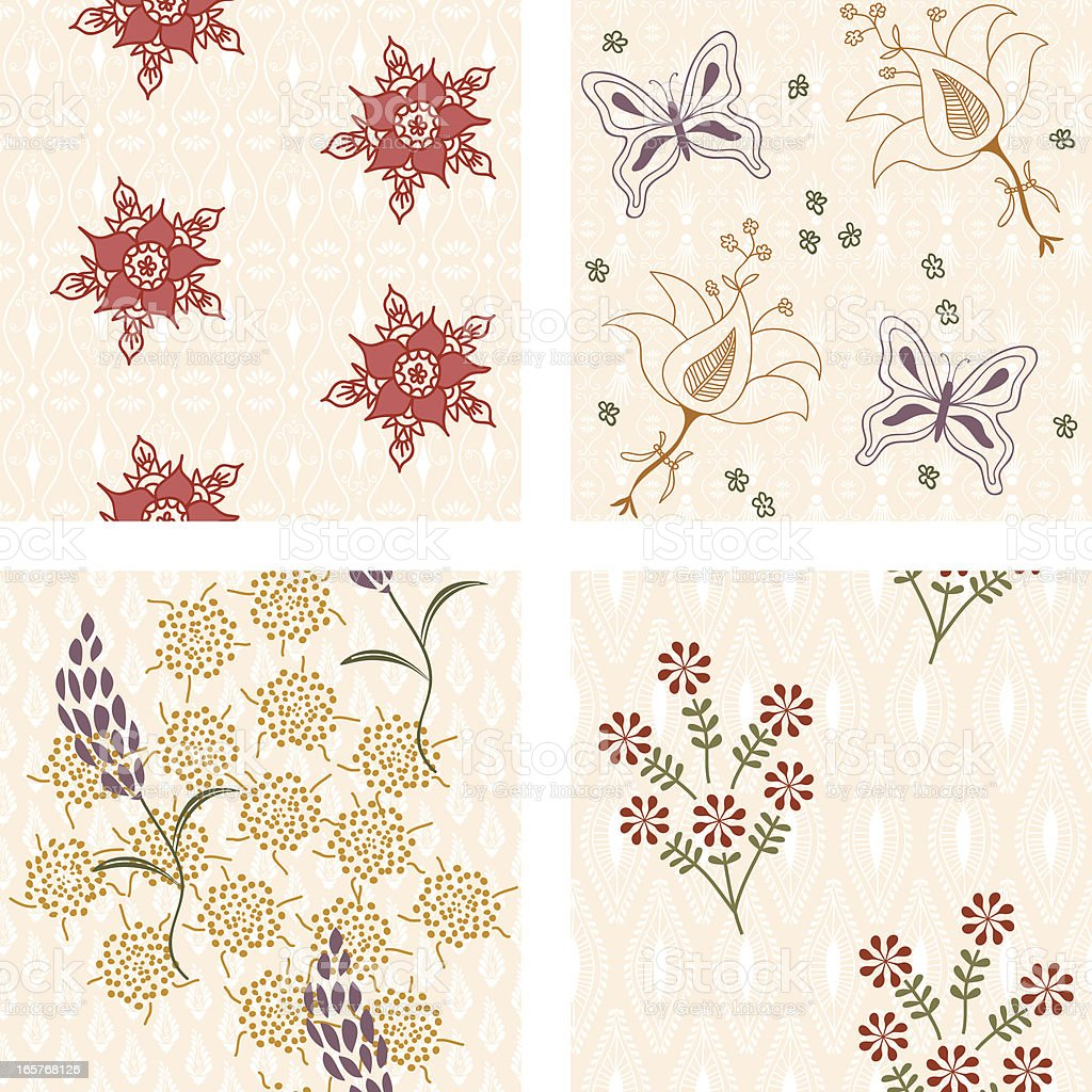 Fresh Air Floral Tiles vector art illustration