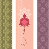 A collection of delicate floral banners - one with a woman practicing yoga in a lotus flower, surrounded by a mandala. (Includes .jpg)