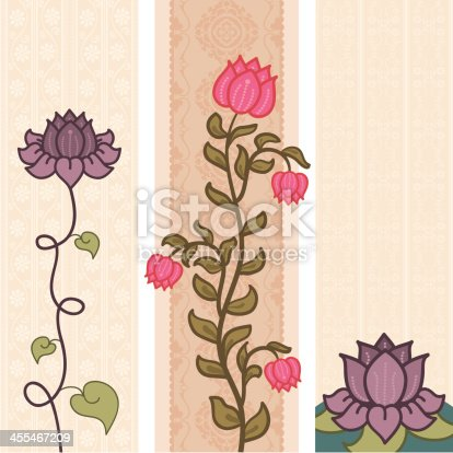 A trio of colourful banners featuring luscious lotus flowers. (Includes .jpg)