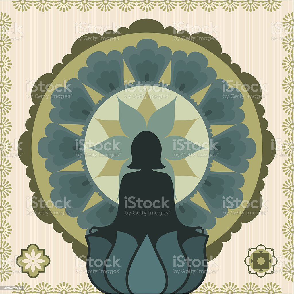 Fresh Air Meditation vector art illustration